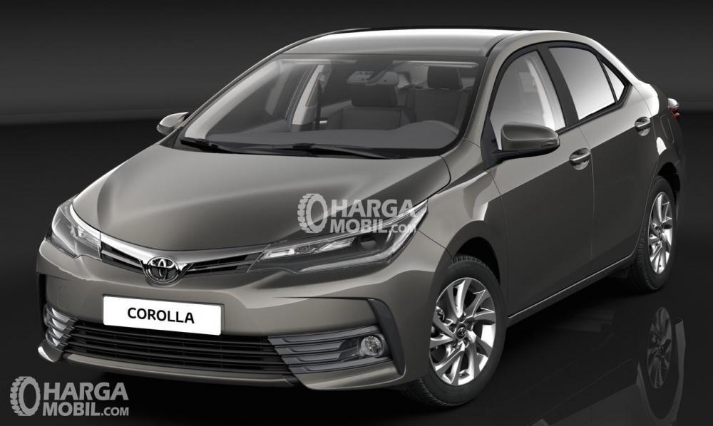 Gambar mobil Toyota Corolla Altis facelift 2017 berwarna abu-abu hitam dilihat dari bagian depan