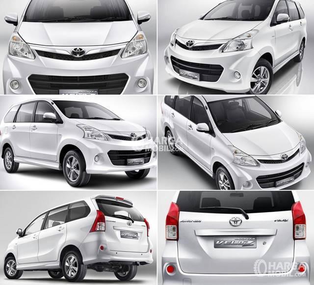 banyak gambar Toyota avanza veloz berwarna silver dari beberapa sisi terlihat sangat jelas