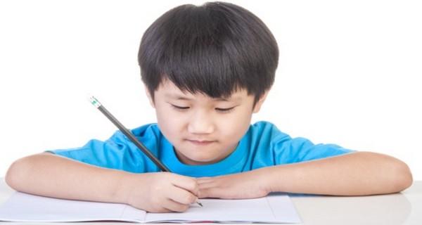 Gambar menunjukkan seorang anak sedang menulis menggunakan pensil pada buku