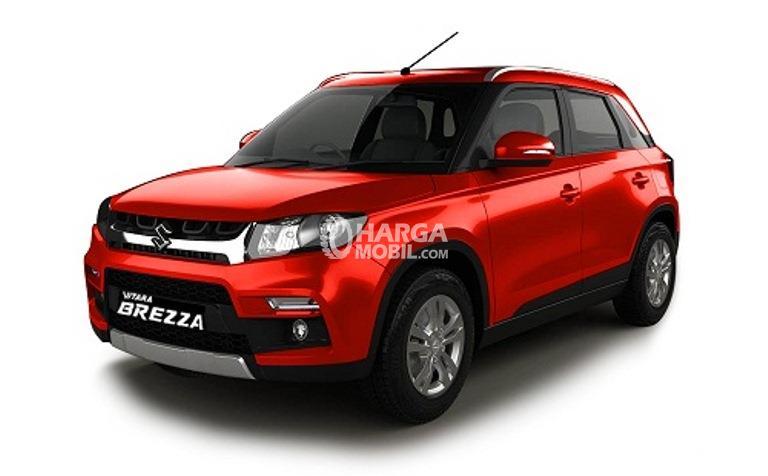 Gambar mobil Suzuki Vitara Brezza 2018 berwarna merah
