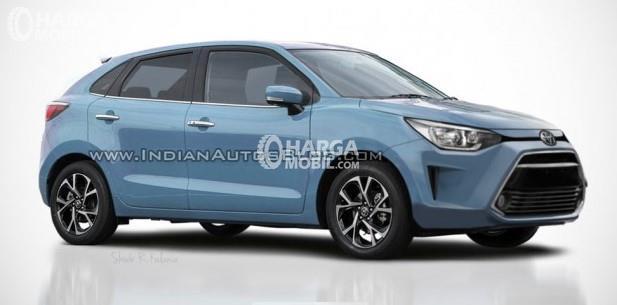 Gambar menunjukkan Baleno Hatchback berlogo Toyota
