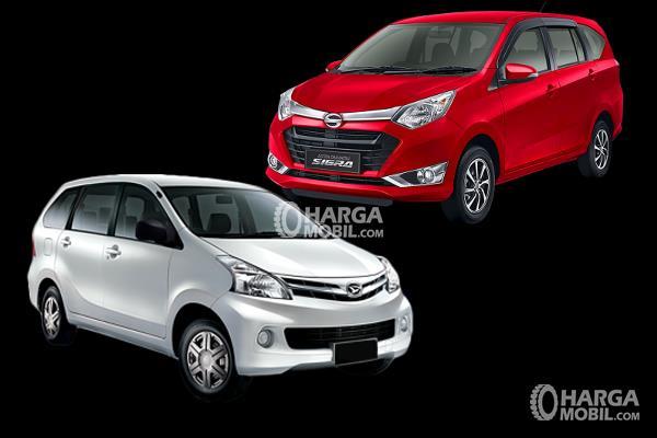 gambar Ini menunjukkan Mobil daihatsu Xenia warna putih dan Daihatsu sigra warna merah