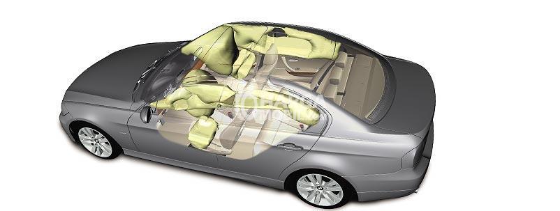 Fitur Safety BMW 320i 2017 dengan airbags di bagian depan dan bagian samping