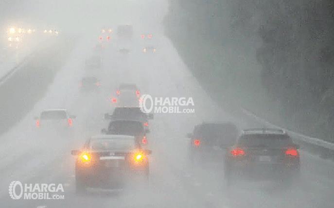 Gambar ini menunjukkan beberapa Mobil sedang berjalan di jalanan yang berkabut