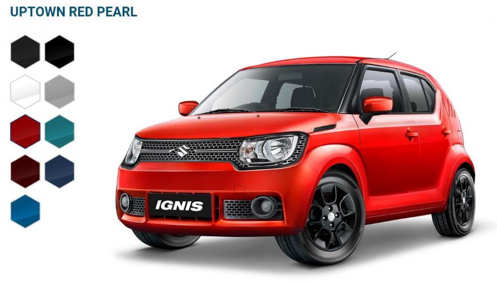 Foto Suzuki Ignis warna merah tampak dari depan samping