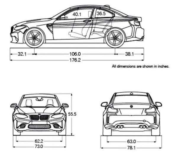 Gambar Dimensi BMW M2 Coupé LCI 2018