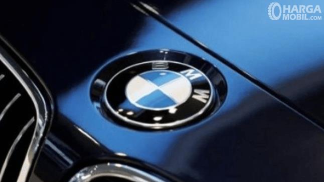 Gambar ini menunjukkan logo BMW yang terdapat pada mobil warna biru
