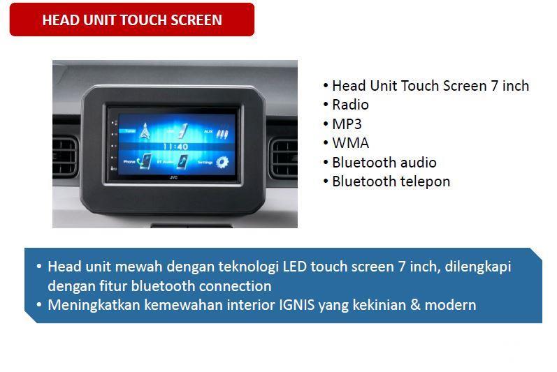 Fitur hiburan Suzuki Ignis Sport 2018 menggunakan panel Head Unit Touchscreen berukuran 7 inci