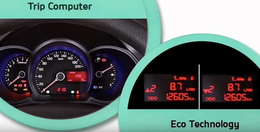 Gambar ini menunjukkan speedometer dengan trip computer dan eco tecnology