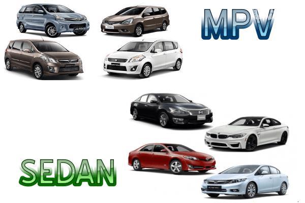Gambar ini menunjukkan 4 buah mobil sedan dan 4 buah mobil MPV