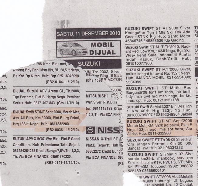 Gambar ini menunjukkan potongan koran yang berisi iklan jual beli mobil