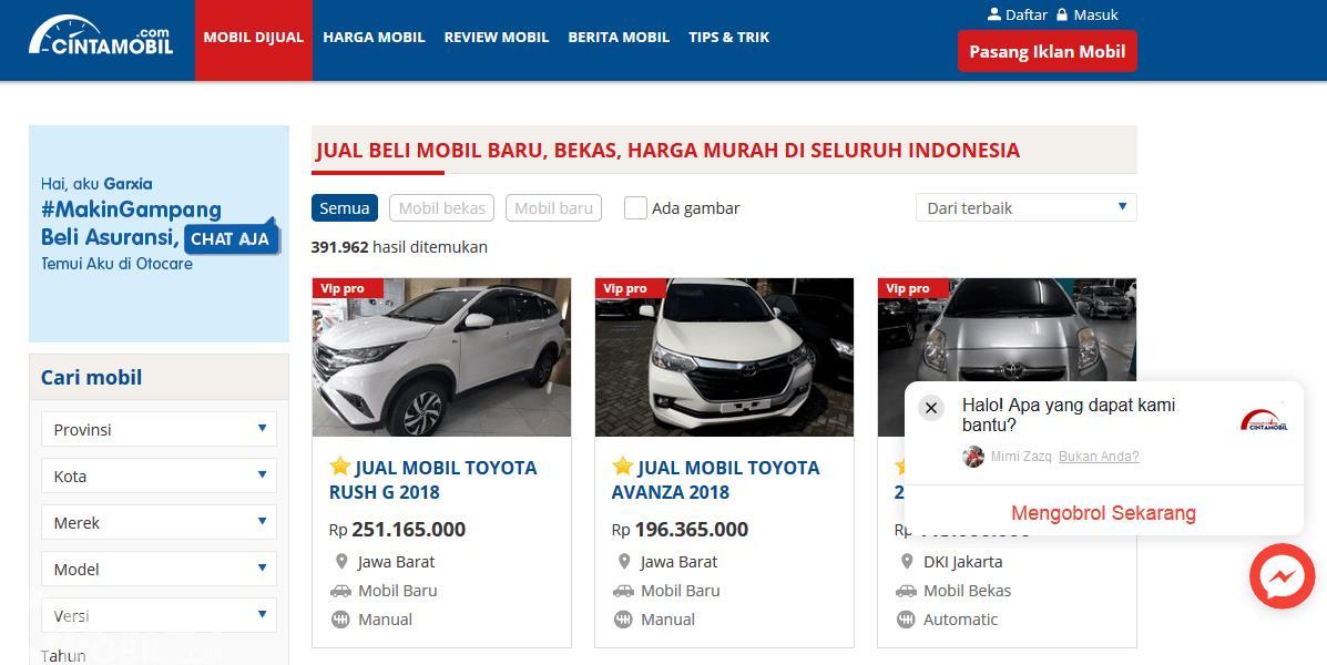 Gambar ini menunjukkan sebuah website jual beli di internet yakni Cintamobil.com