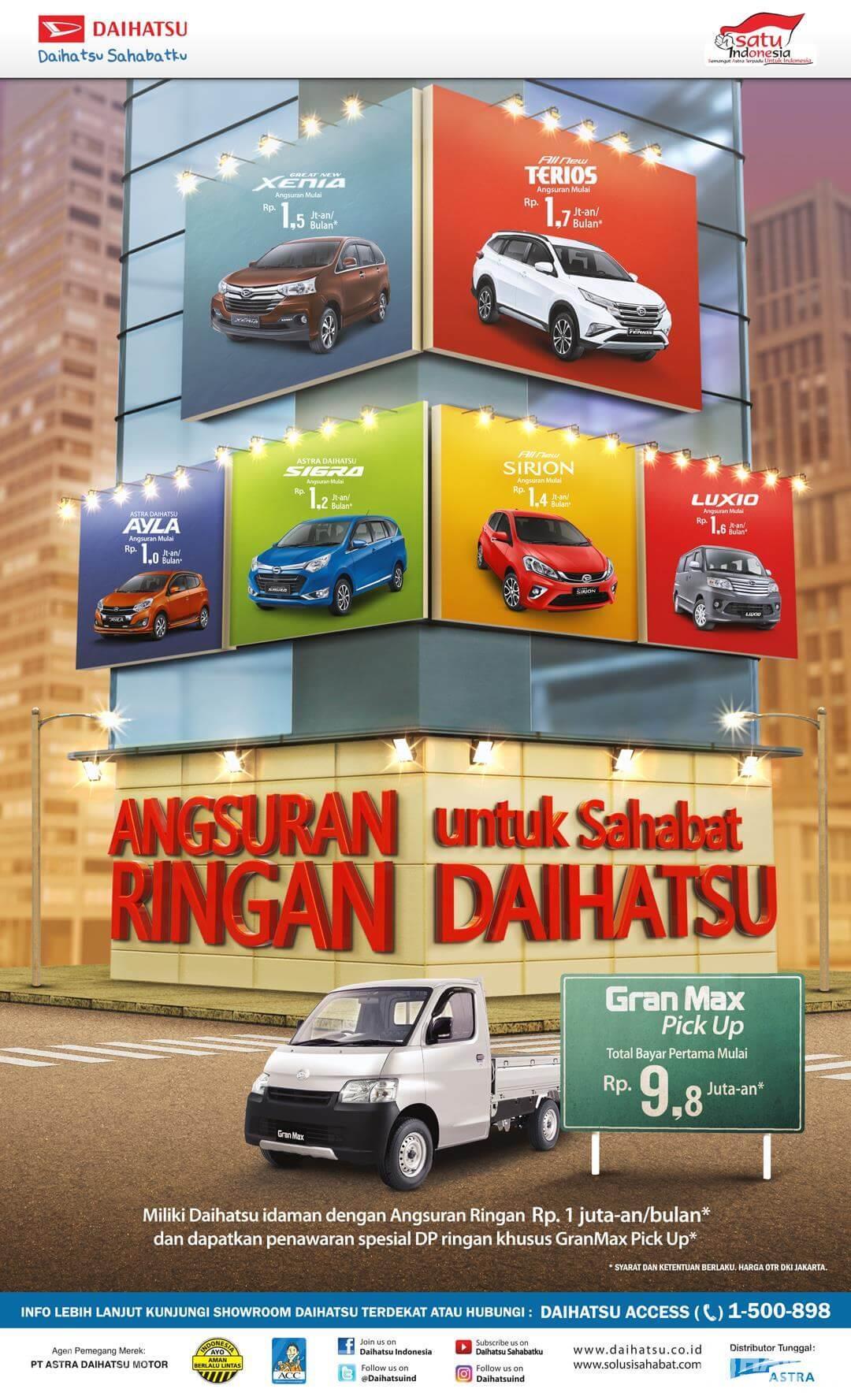Gambar ini menunjukkan selebaran mengenai promo mobil besutan daihatsu