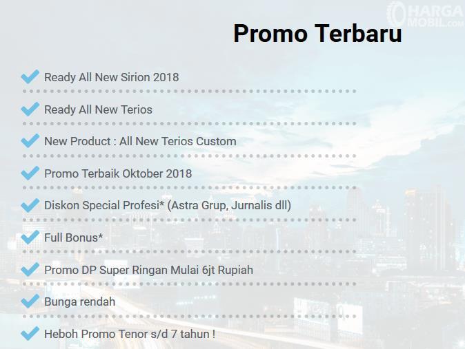 Gambar ini menunjukkan promo dari Astra daihatsu Semarang dengan beberapa tulisan yang dicentang