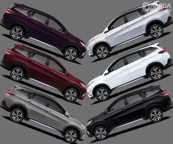 Gambar ini menunjukkan 6 unit mobil Daihatsu Terios dengan warna berbeda