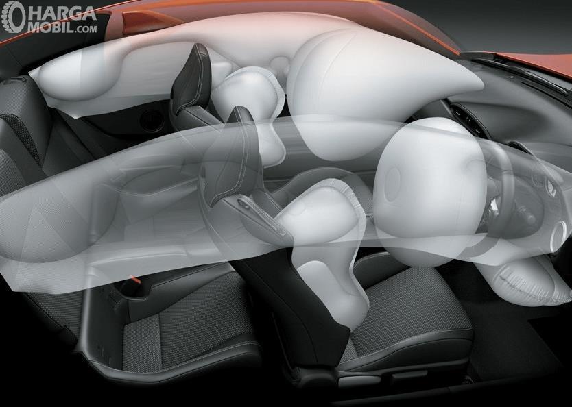 Gambar ini menunjukkan ilustrasi airbag yang berada di dalam mobil di bagian depan dan samping