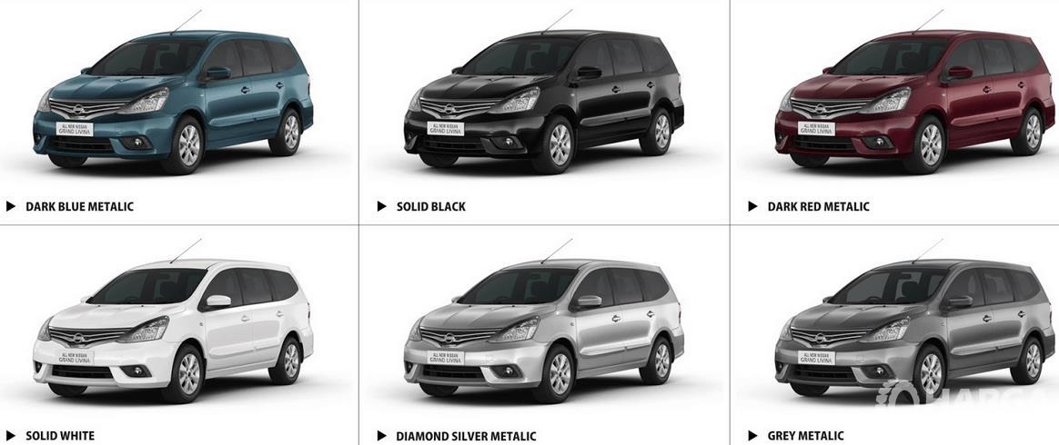 Gambar ini menunjukkan enam pilihan warna Nissan Grand Livina