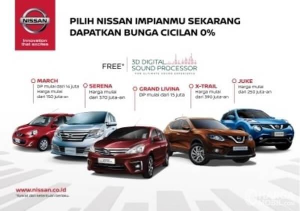 Gambar ini menunjukkan selebaran promo dari Nissan untuk produk mobilnya