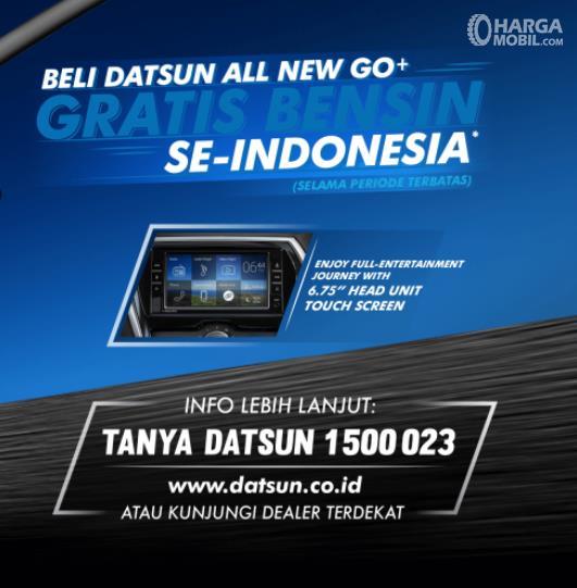 Gambar ini menunjukkan brosur promo Datsun gratis bensin untuk menarik pelanggan