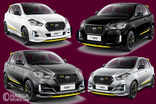 Gambar ini menunjukkan 4 buah mobil All New datsun Go dengan warna berbeda