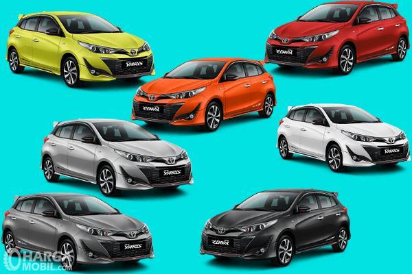 Gambar ini menunjukkan beberapa pilihan warna Toyota Yaris terbaru