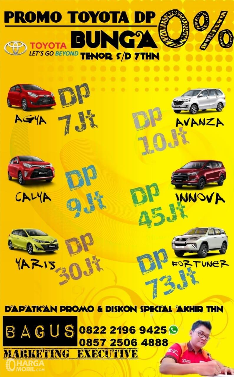Gambar ini menunjukkan promo menarik pada mobil Toyota dengan beberapa pilihan mobil