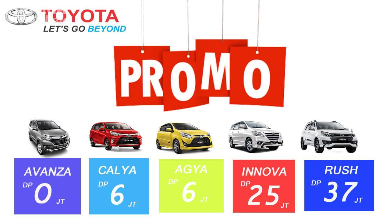 Gambar ini menunjukkan brosur promo dari mobil Toyota dengan beragam besaran DP
