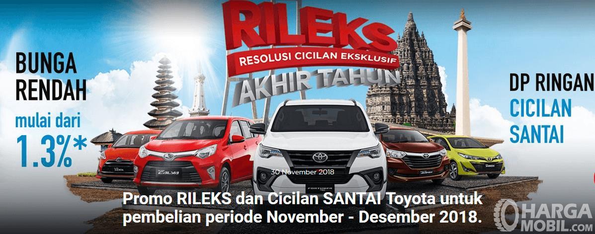 Gambar ini menunjukkan brosur promo rileks dari Toyota untuk periode akhir tahun