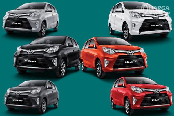 Gambar ini menunjukkan beberapa mobil Toyota Calya dengan warna yang berbeda
