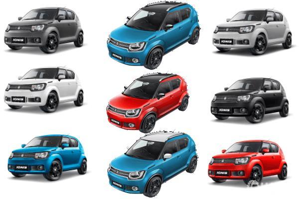 Gambar ini menunjukkan mobil Suzuki Ignis 9 unit dengan warna yang berbeda