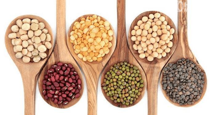 Gambar ini menunjukkan beberapa macam kacang-kacangan dalam beberapa jenis