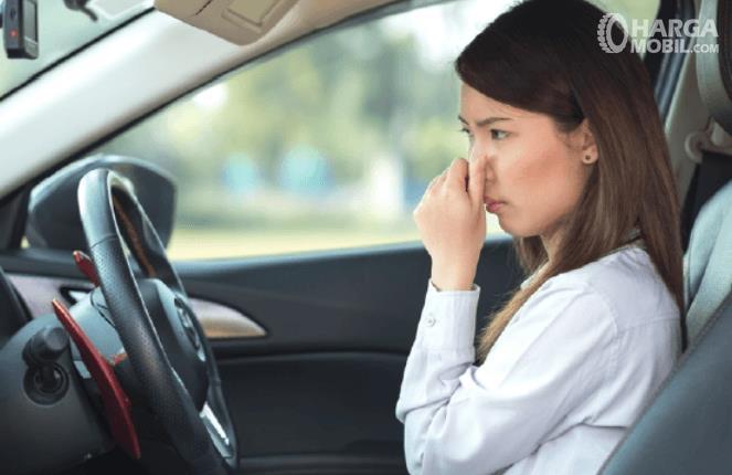 Gambar ini menunjukkan seorang wanita sedang menutup hidung di dalam mobil