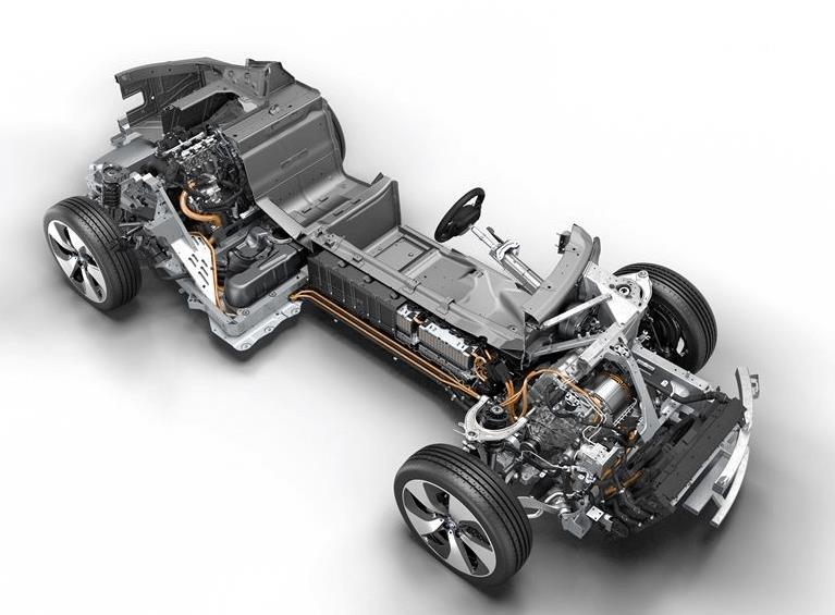 Gambar ini menunjukkan ilustrasi bagian mesin dari mobil BMW i8 2016