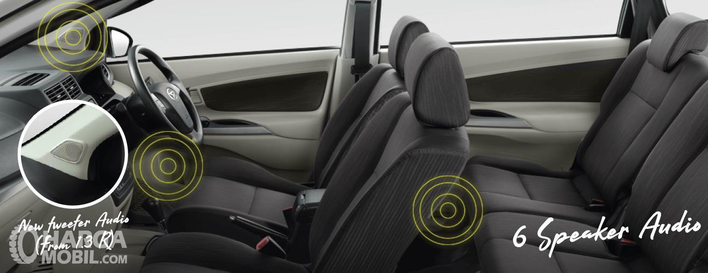 Gambar ini menunjukkan bagian kabin mobil dengan 6 buah speaker