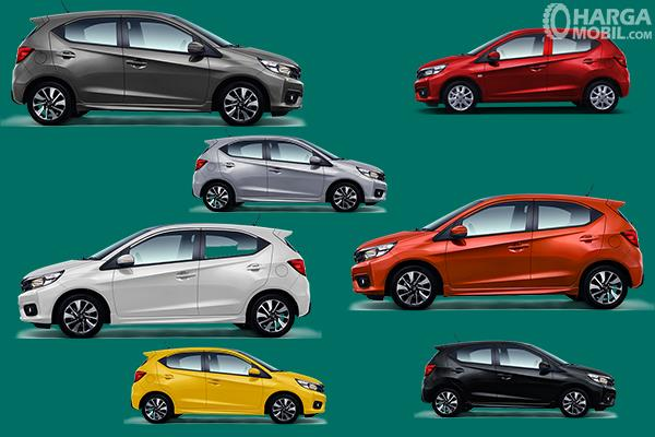 Gambar ini menunjukkan beberapa pilihan warna pada Honda Brio