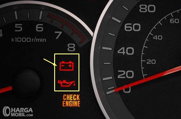 Gambar ini menunjukkan ilustrasi panel instrumen yang terdapat indikator berhubungan dengan permesinan yaitu indikator aki