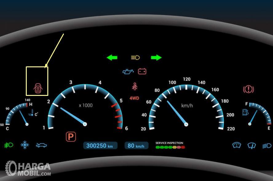 Gambar ini menunjukkan indikator pintu mobil dan lainnya  pada panel instrumen kendaraan