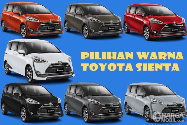 Gambar ini menunjukkan mobil Toyota Sienta 7 unit dengan warna yang berbeda