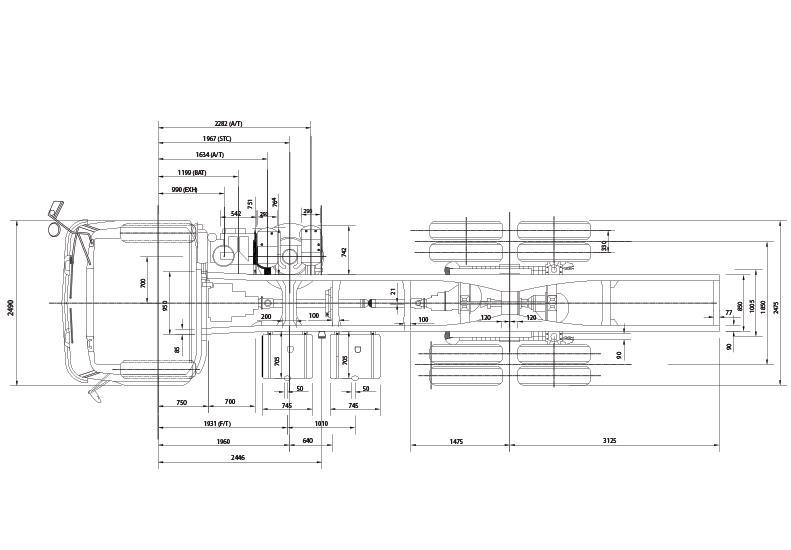 Gambar ini menunjukkan ilustrasi ukuran mobil Isuzu C-Series