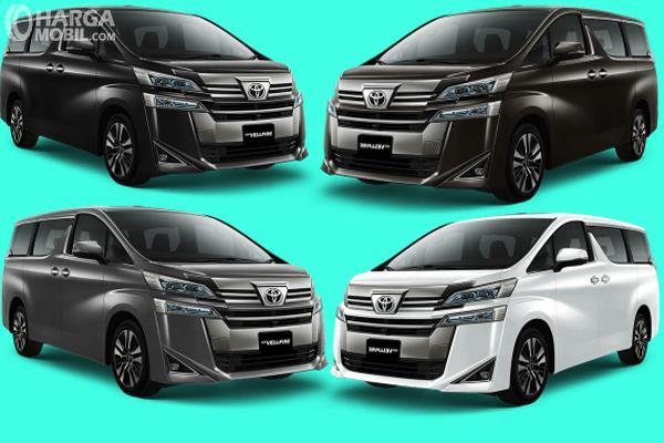 Gambar ini menunjukkan 4 pilihan warna Toyota Vellfire