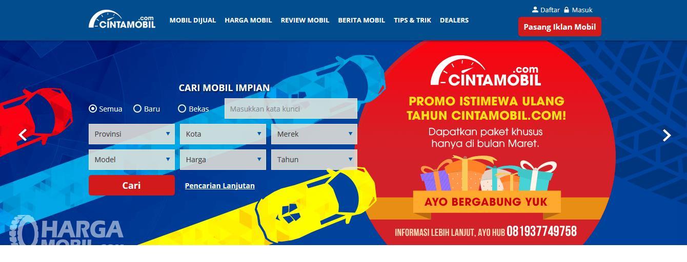 Gambar ini menunjukkan situs jual beli ternama Cintamobil.com