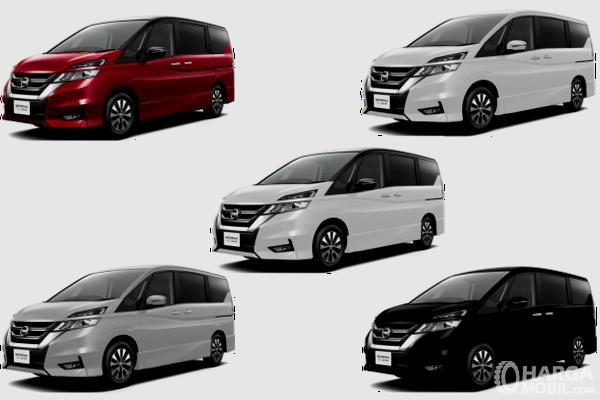 Gambar ini menunjukkan 5 pilihan warna mobil Nissan Serena 2019