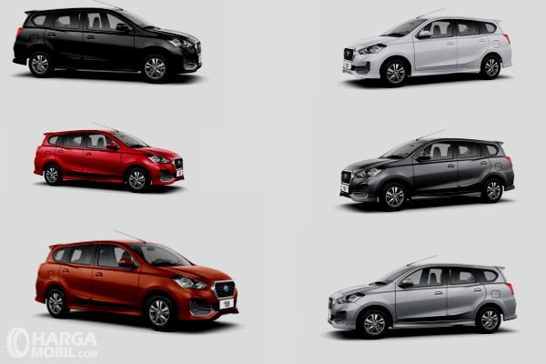 Gambar ini menunjukkan 6 unit Datsun Go+ dengan warna yang berbeda