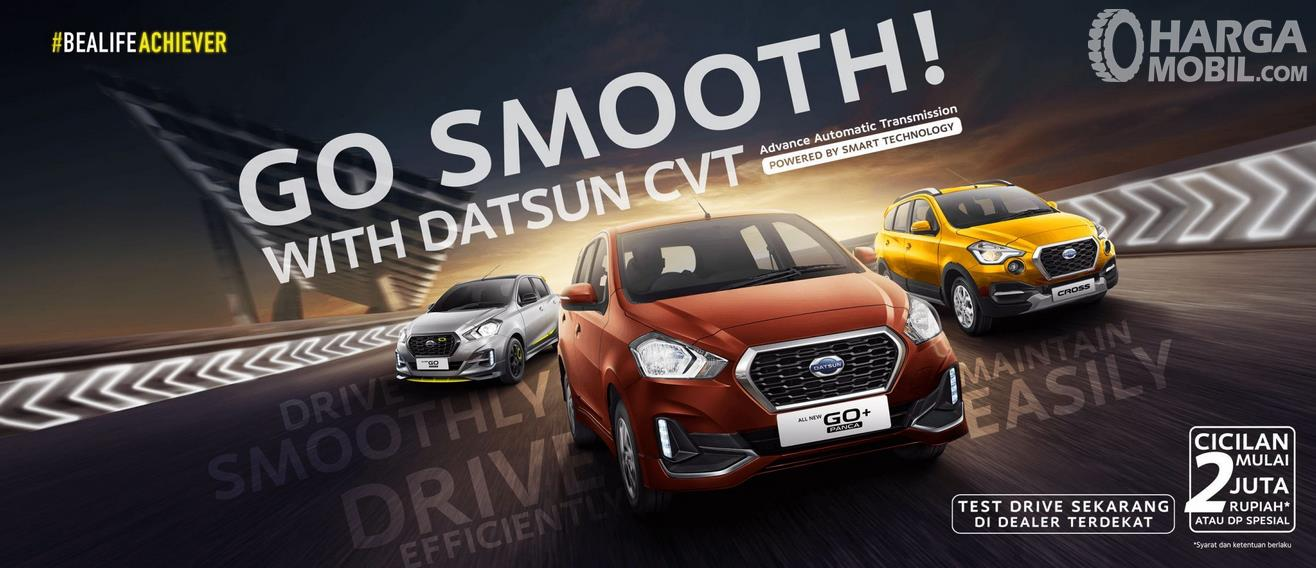 Gambar ini menunjukkan selebaran promo penjualan mobil Datsun