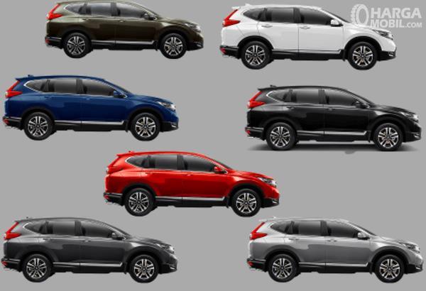 Gambar ini menunjukkan 7 pilihan warna Honda CR-V