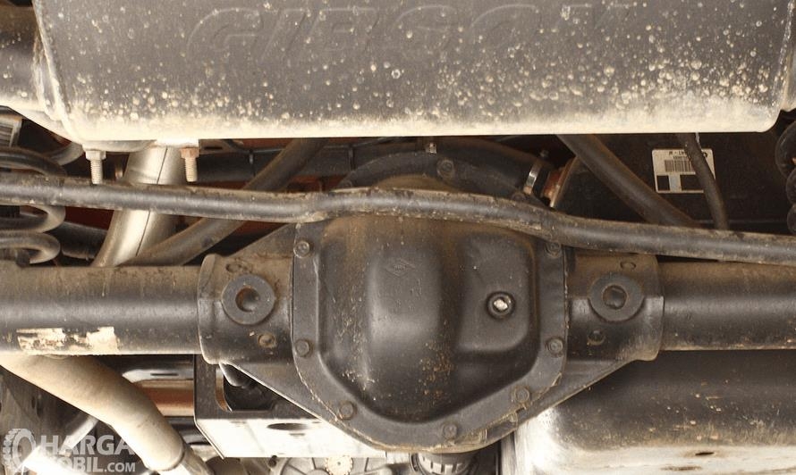 Gambar ini menunjukkan bagian kolong mobil dalam kondisi kotor