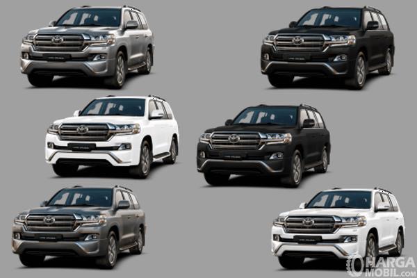 Gambar ini menunjukkan 6 pilihan warna Toyota Land Cruiser 2019
