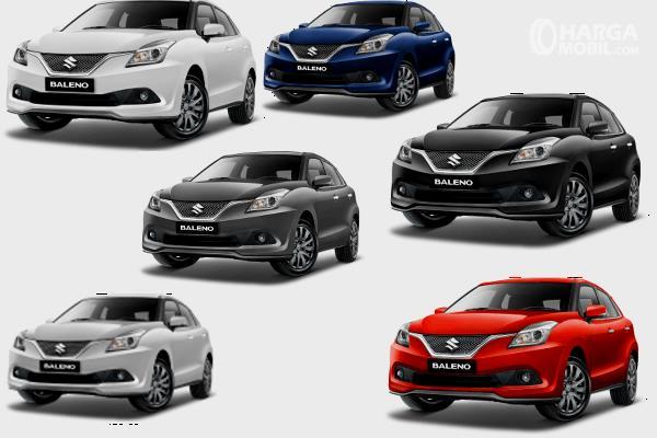 Gambar ini menunjukkan 6 pilihan warna Suzuki Baleno