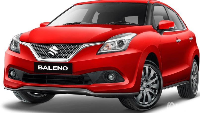 Gambar ini menunjukkan mobil Suzuki Baleno warna merah tampak bagian depan