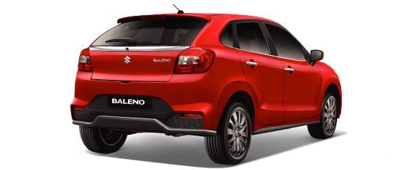Gambar ini menunjukkan bagian belakang Suzuki Baleno warna merah
